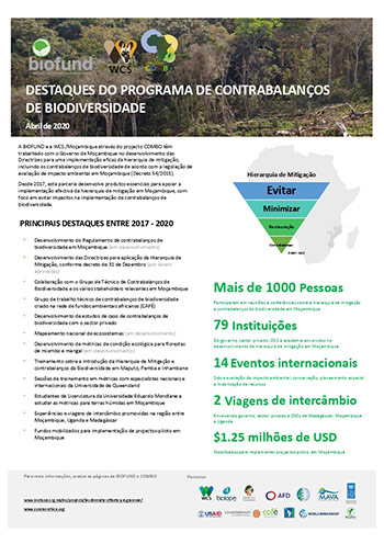 Destaques do programa de contrabalanços de biodiversidade